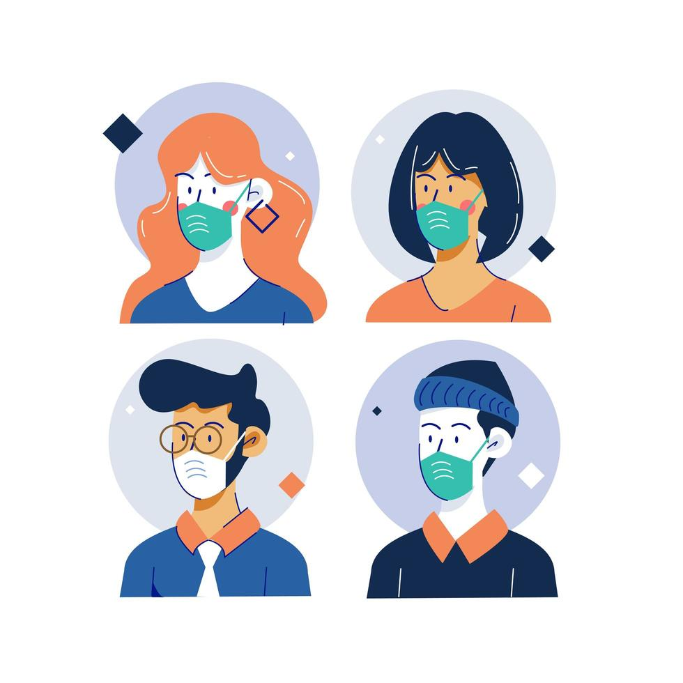 Collection of masked people over circle frame vector