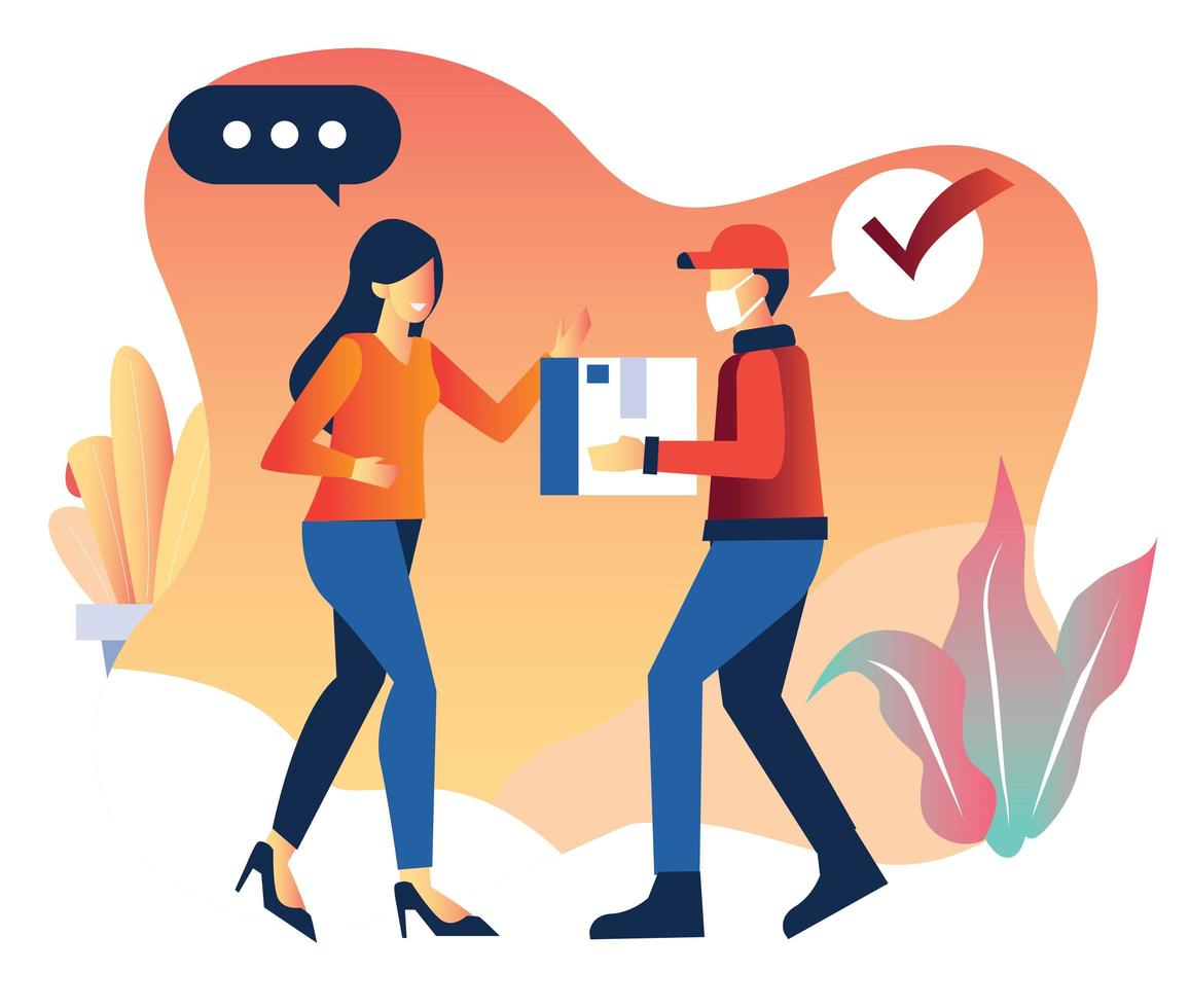 Masked delivery man meeting woman to deliver package vector