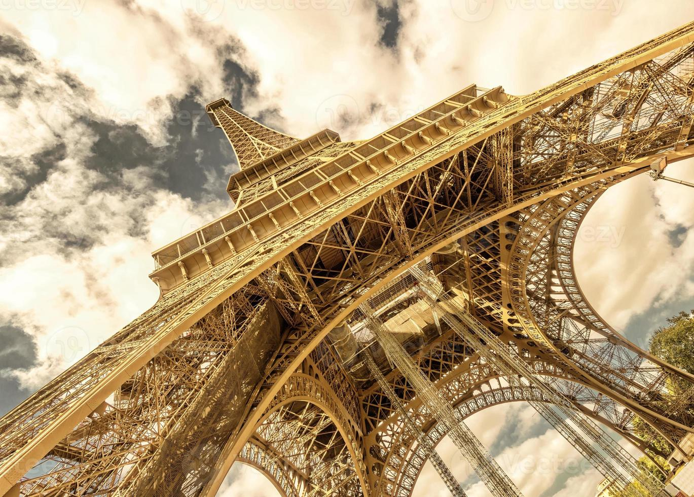 Eiffel Tower on a bright sunny day, Paris photo
