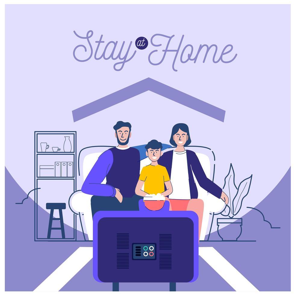familia que prefiere quedarse en casa vector