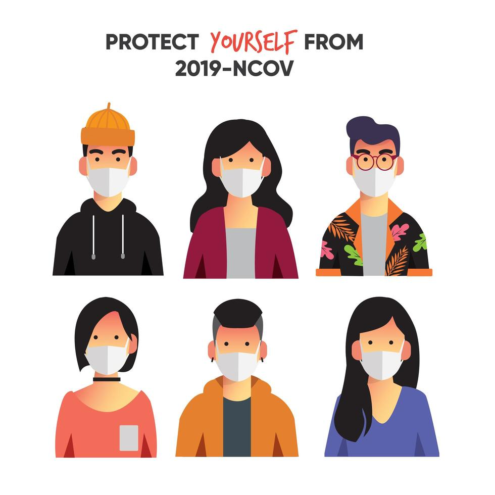 Collection of youth face wear mask  vector