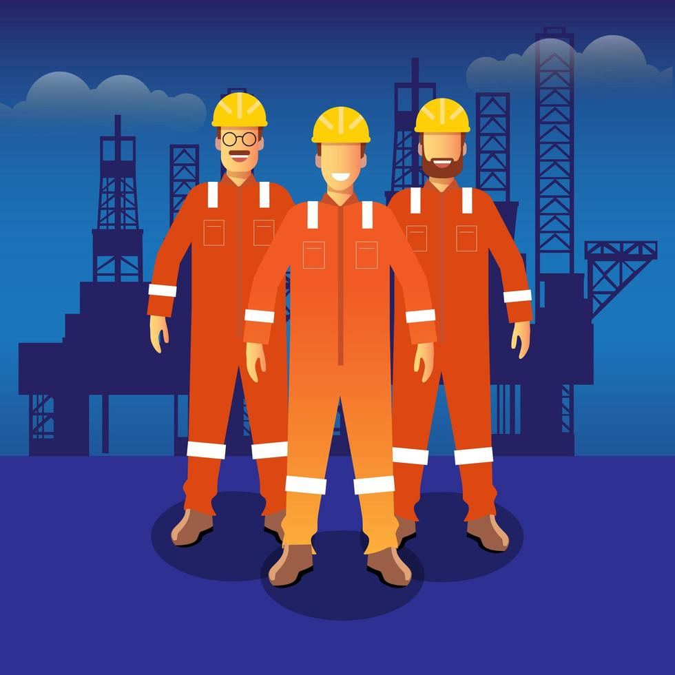 Oil and gas employees  vector