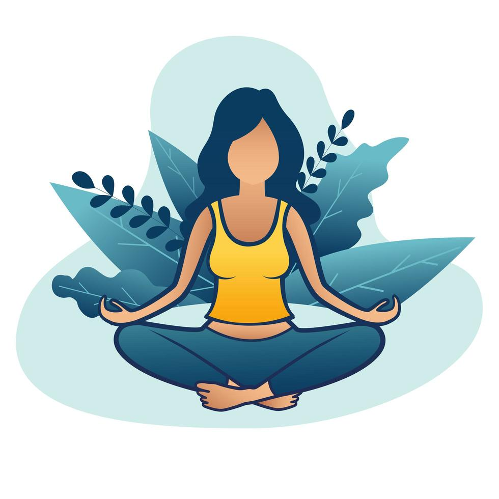 Mujer haciendo meditación o yoga en la naturaleza y hojas vector