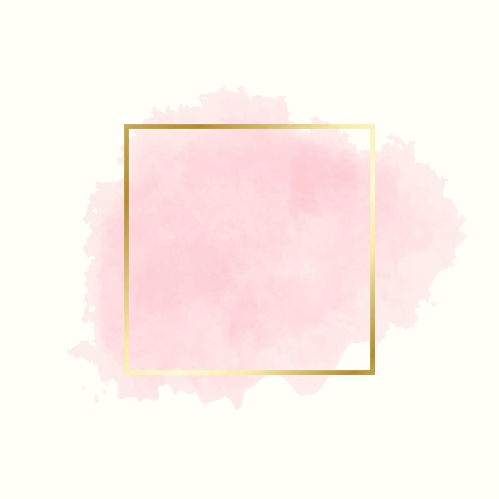 Pink watercolor splash in gold frame on yellow vector