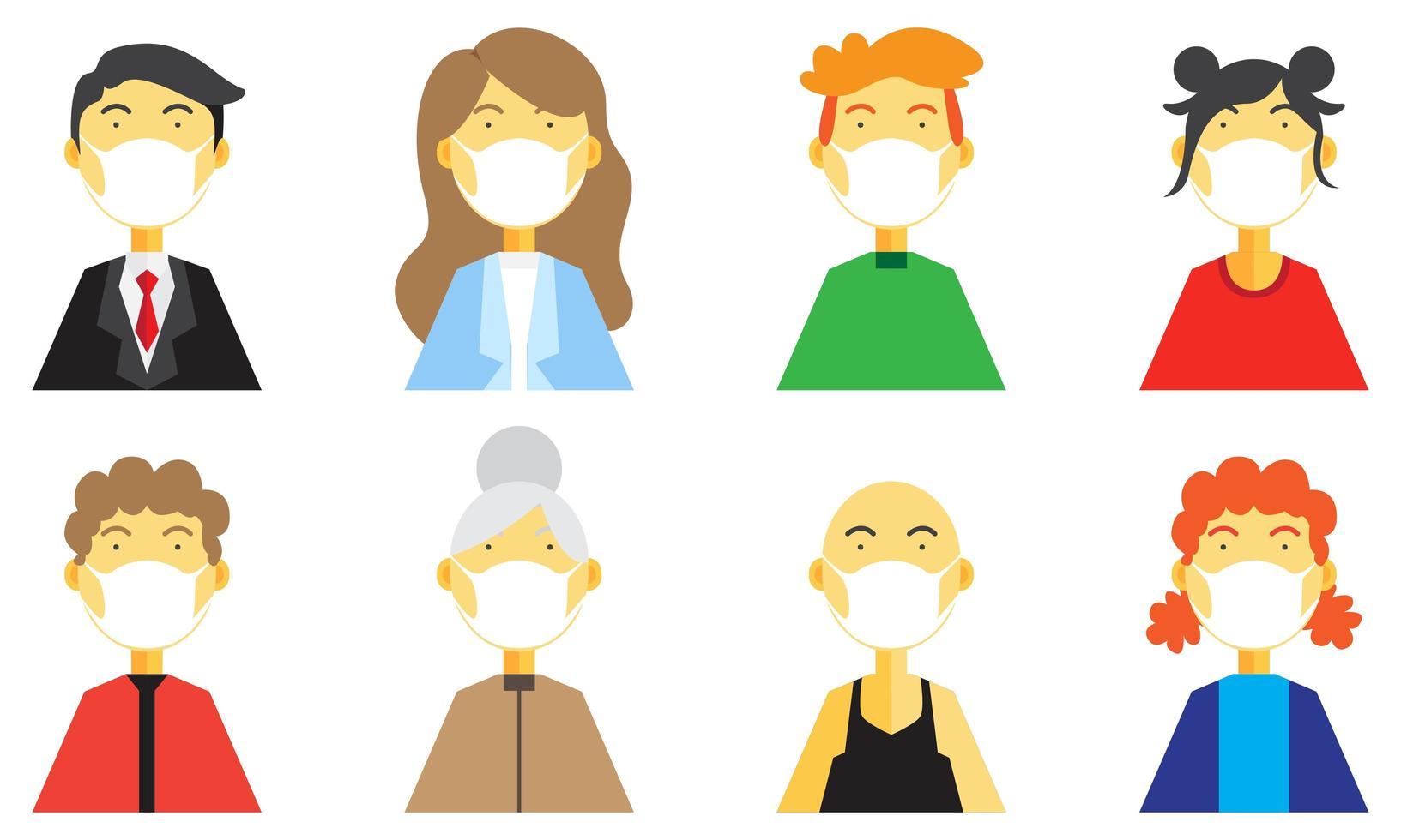 conjunto de personas con máscara médica vector