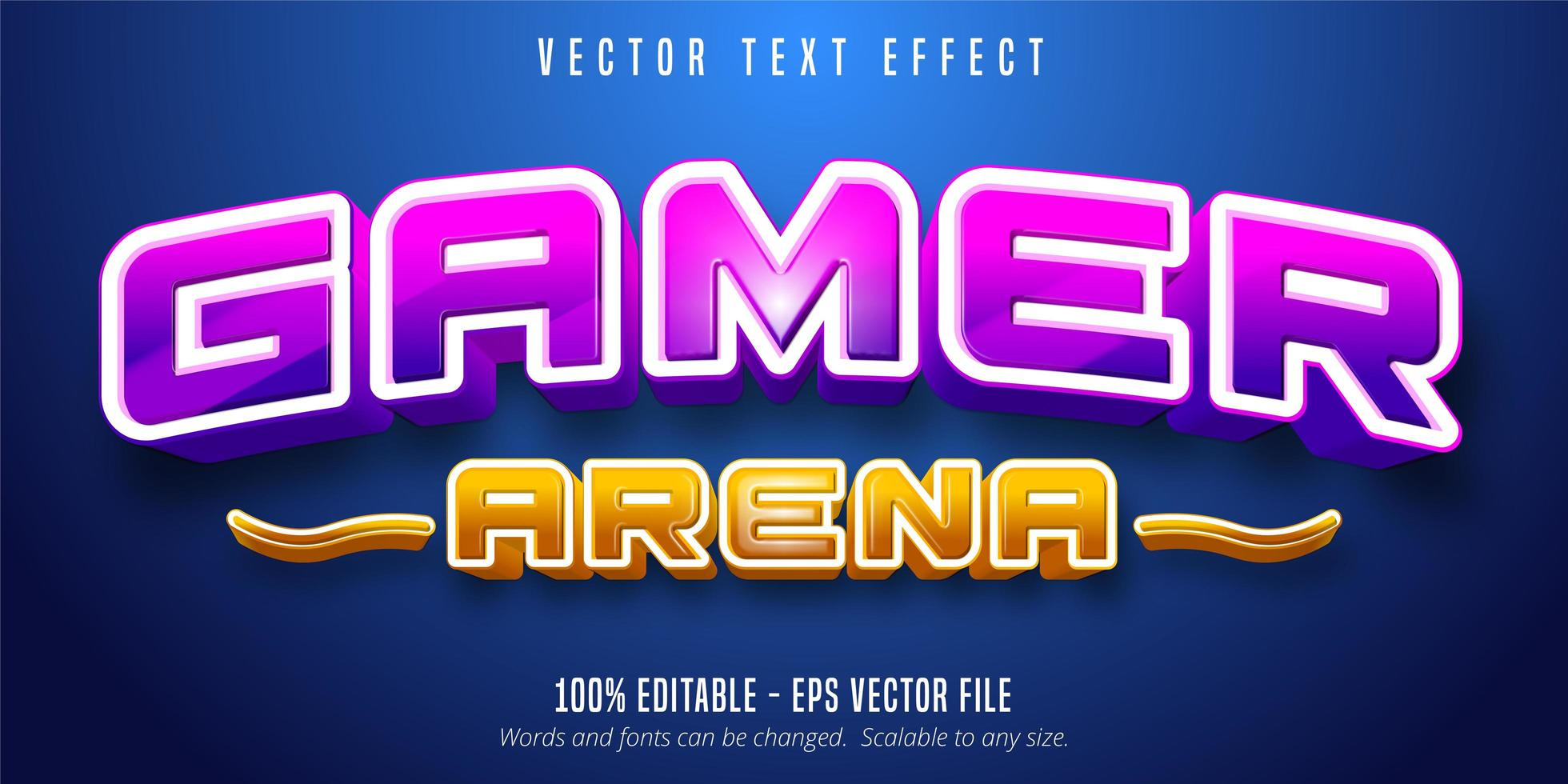 Gamer arena purple and orange shiny text effect vector