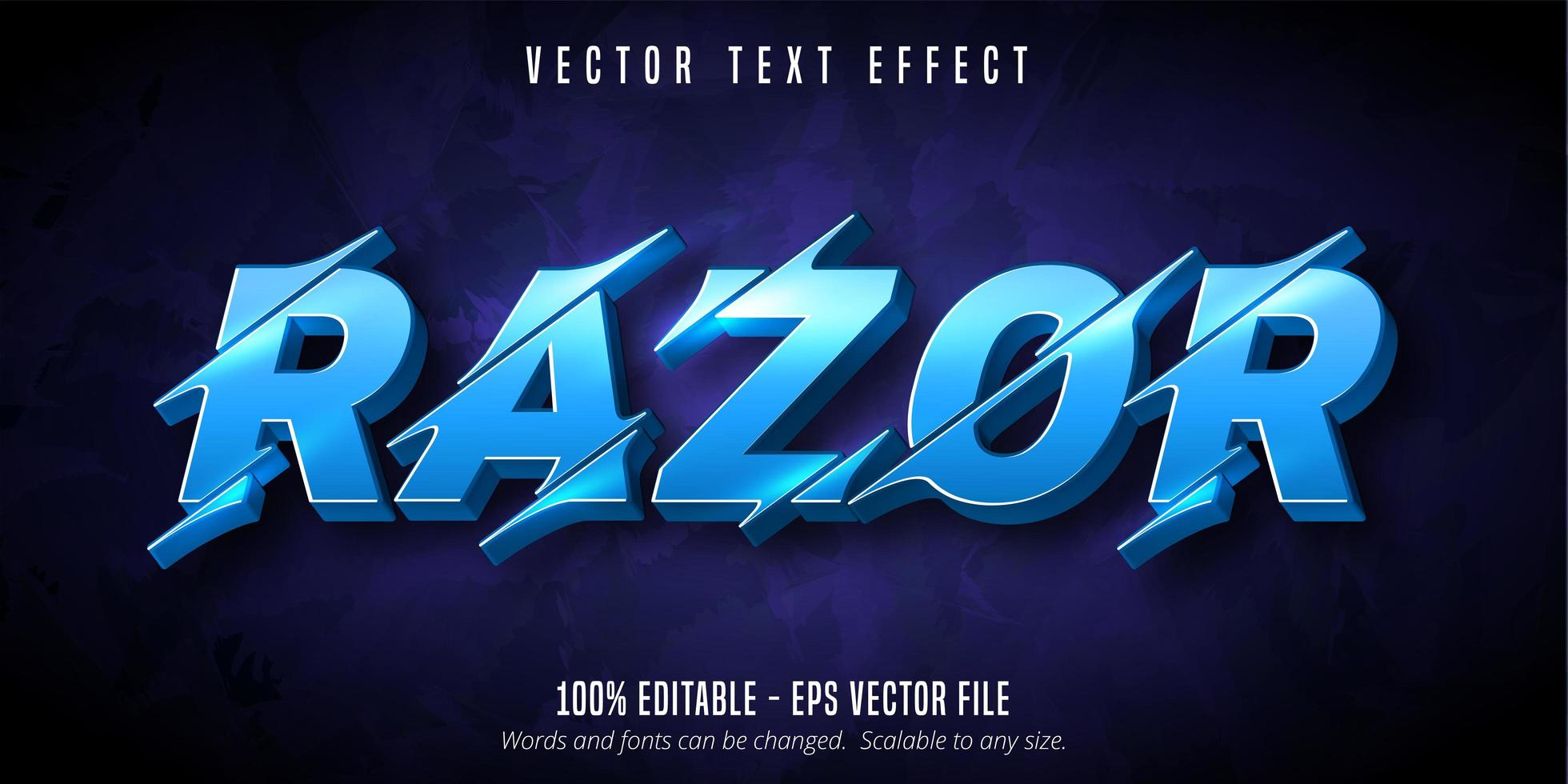 Razor lit blue sliced style text effect vector