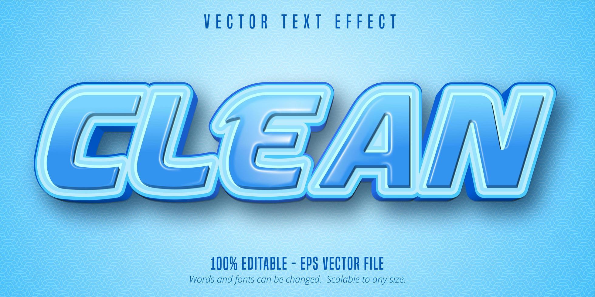 efecto de texto contorneado azul brillante limpio vector