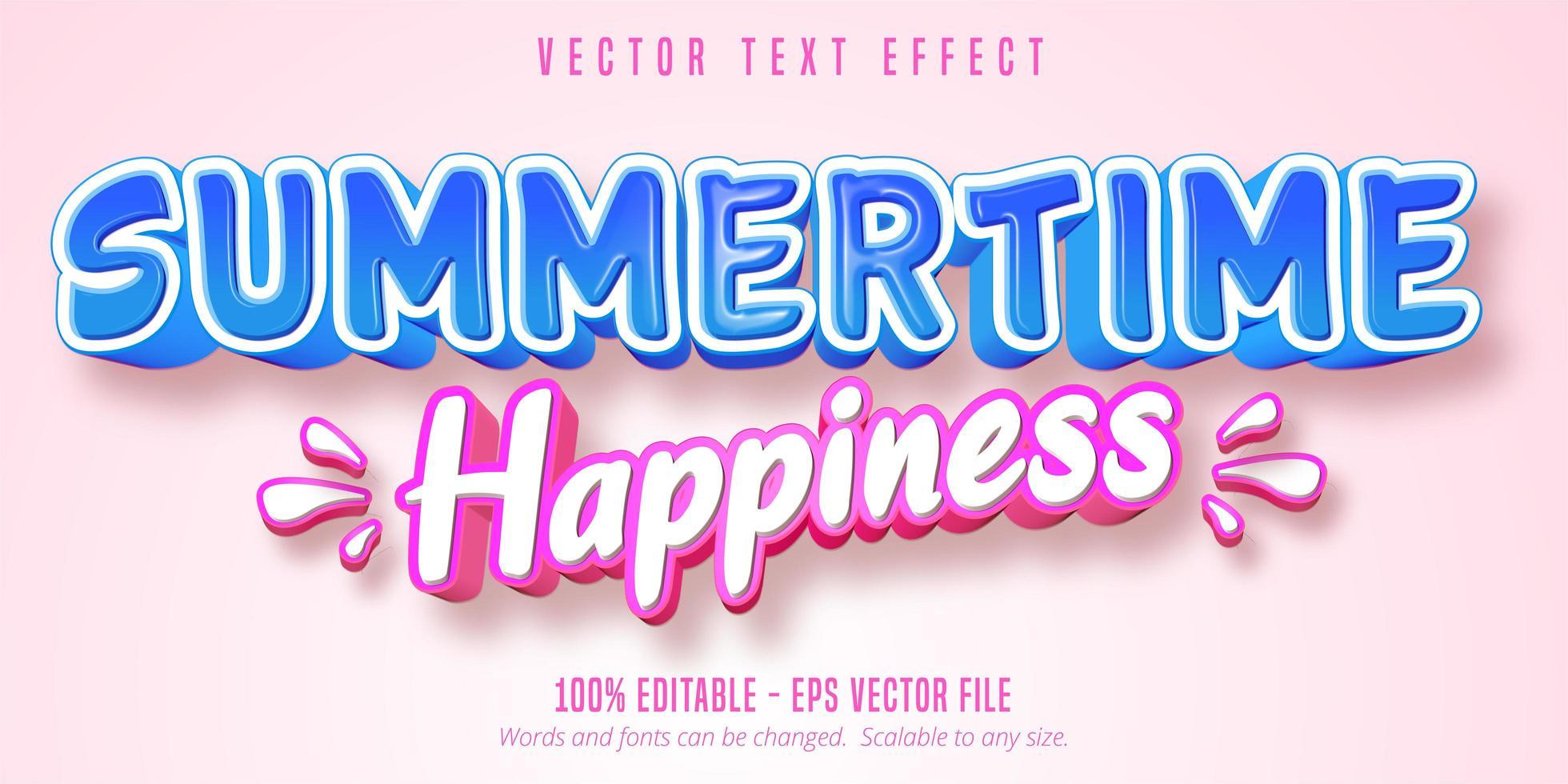 felicità estate blu e rosa effetto testo stile comico vettore