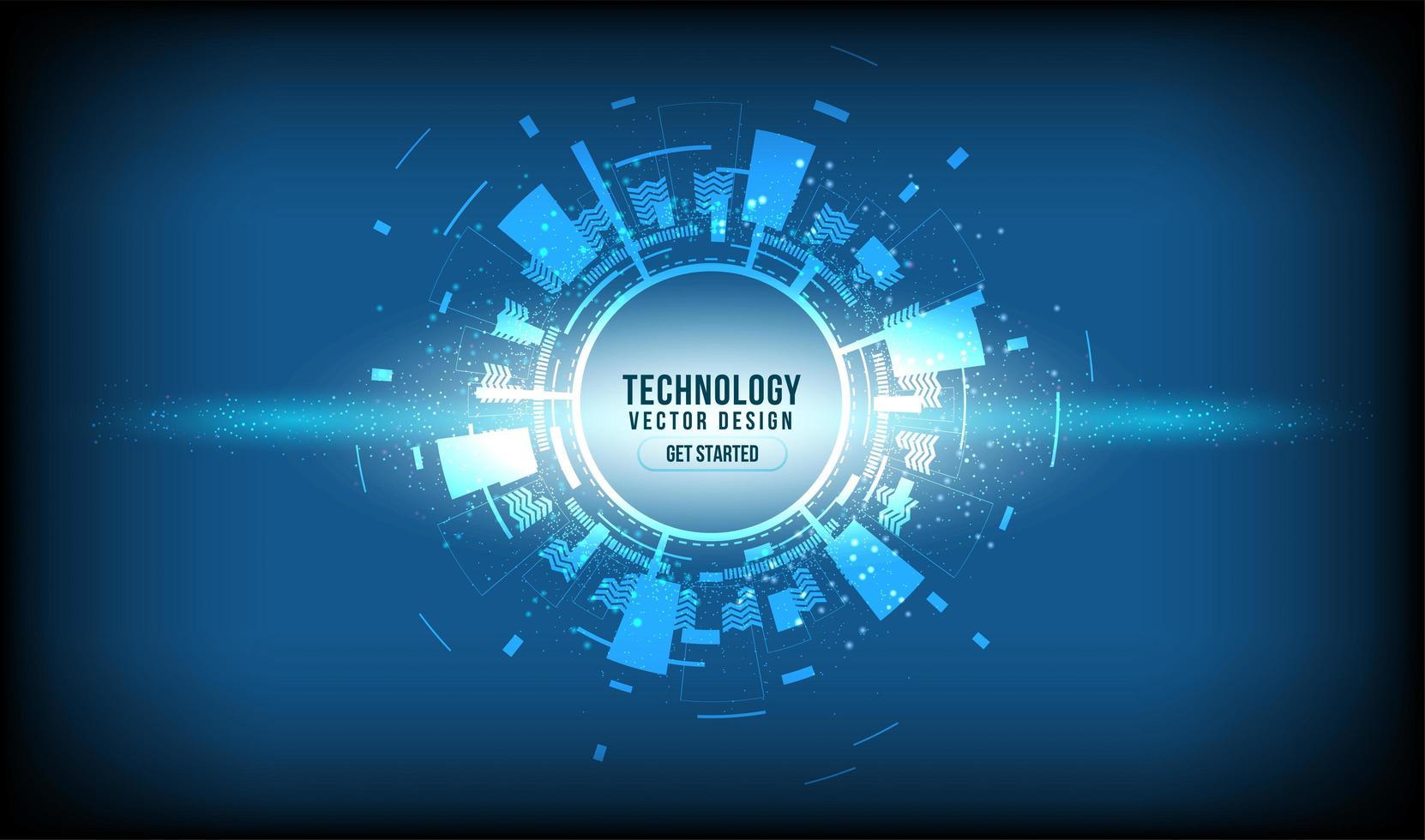 círculo de tecnologia brilhante abstrato no gradiente azul vetor