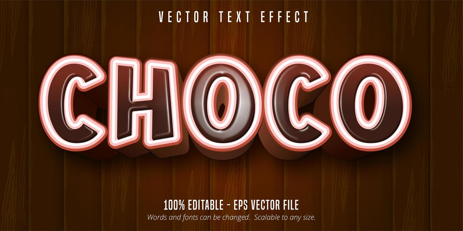 choco brun och vit tecknad stil text effekt vektor