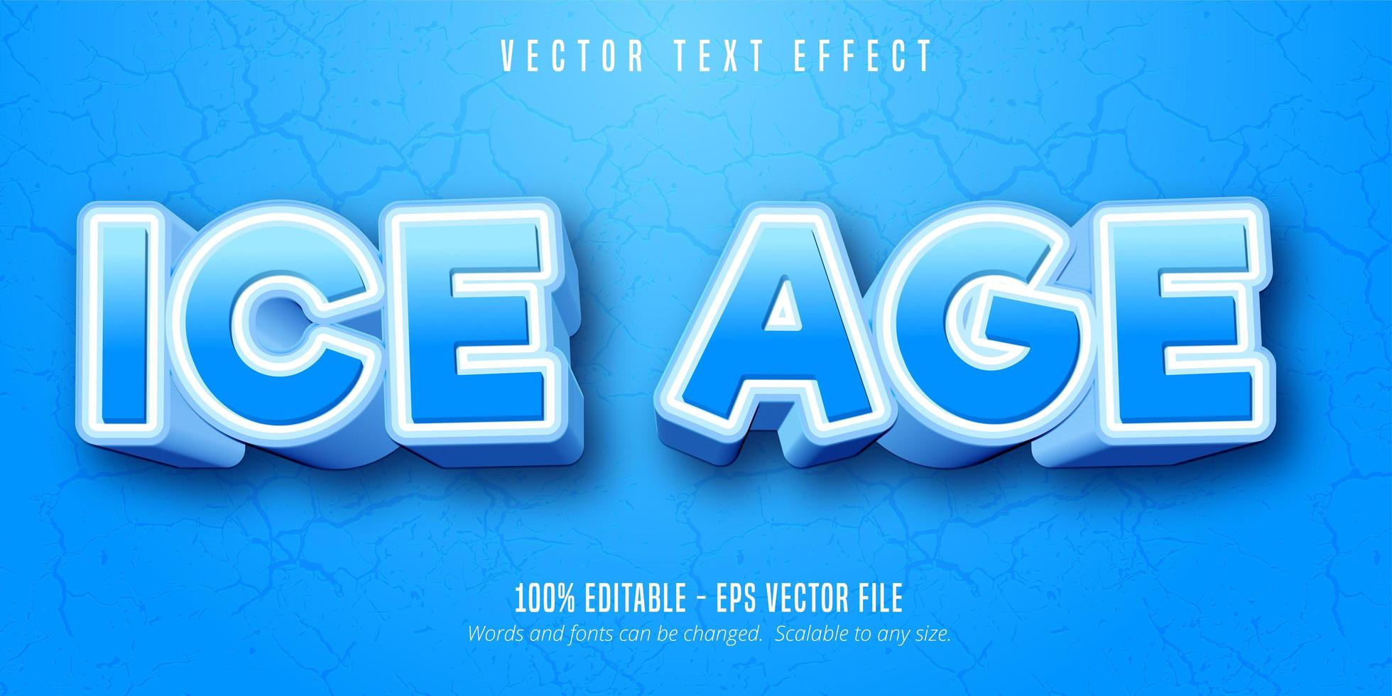 effet de texte de style cartoon bleu et blanc de l'ère glaciaire vecteur