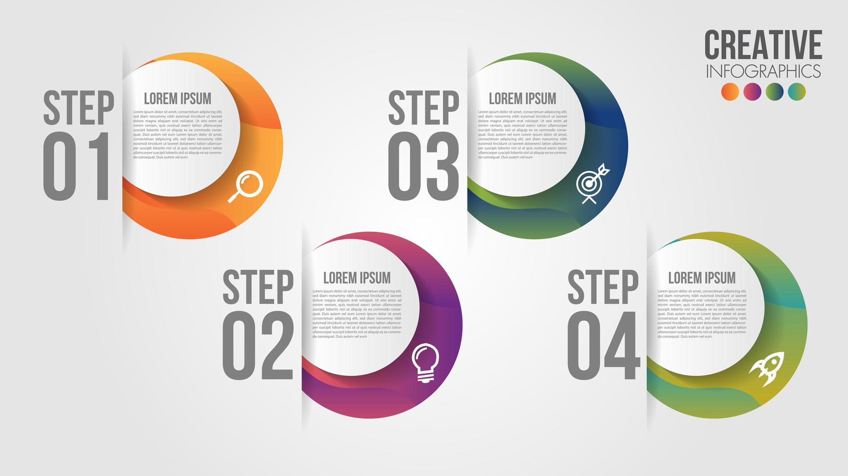 Infographic with 4 gradient circle options in slits vector