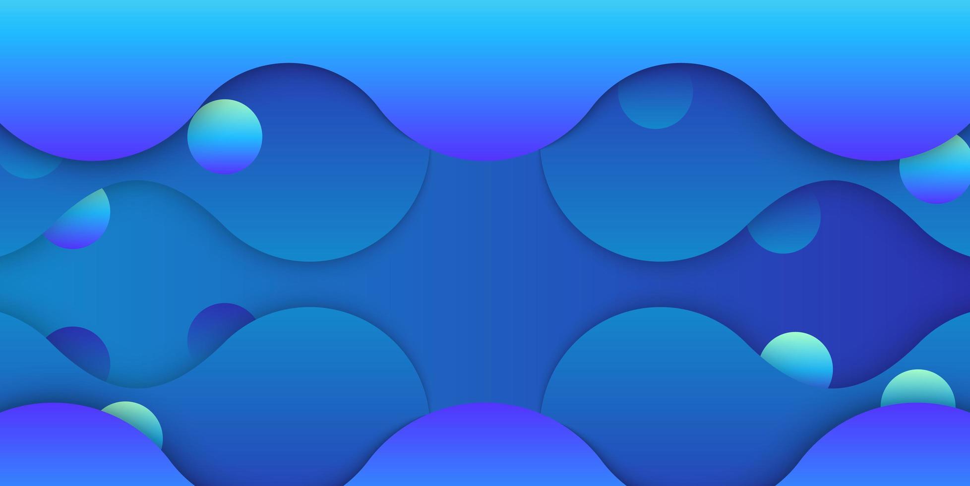 diseño de burbujas y formas líquidas azules en capas vector