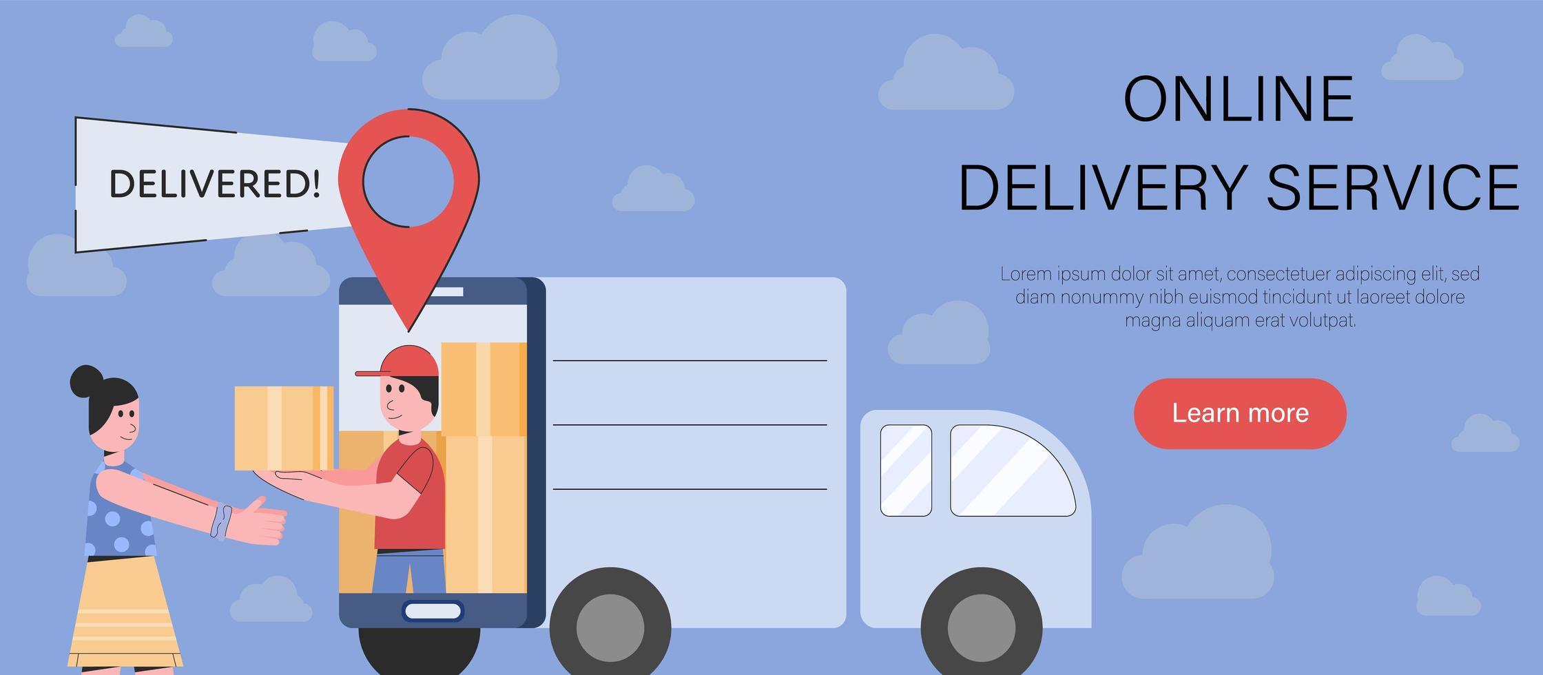 entrega en línea de paquete en estilo de dibujos animados simple vector