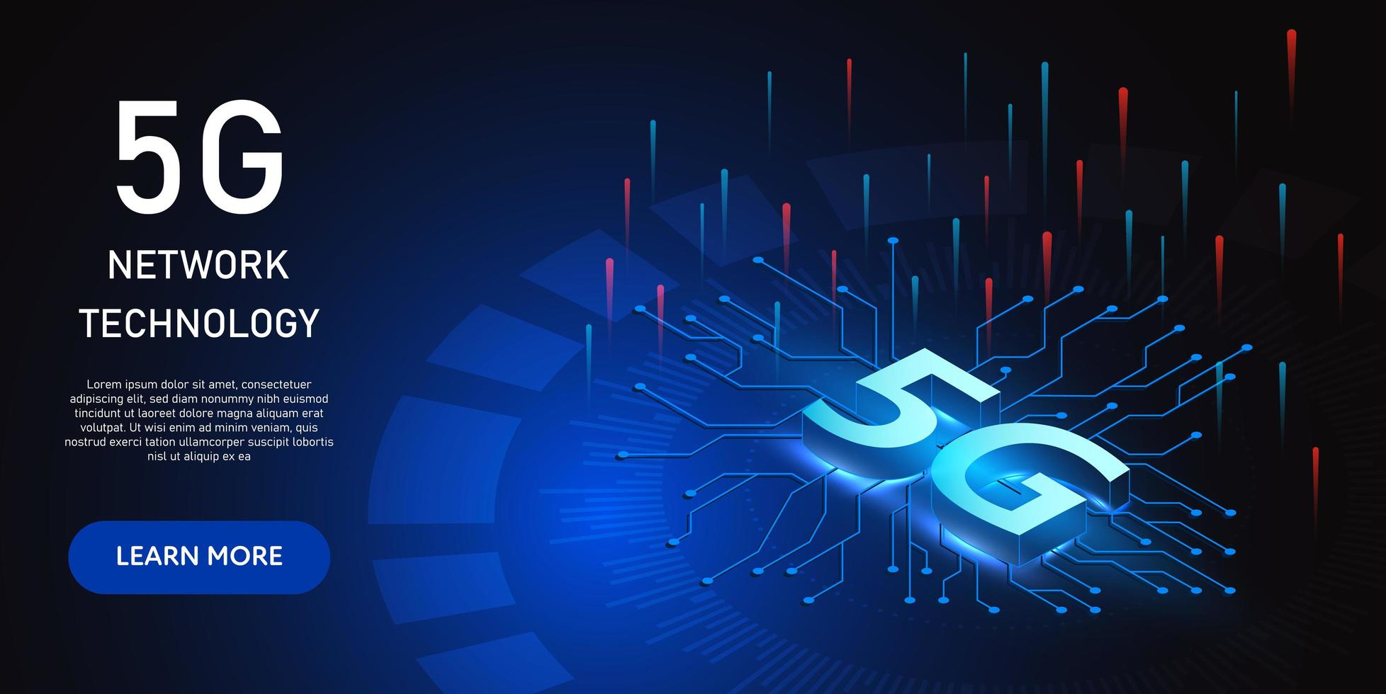 Isometric glowing blue 5g network technology design vector