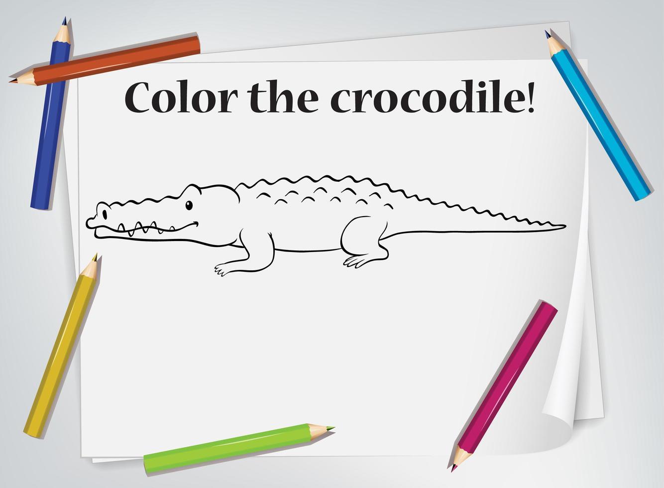 hoja de trabajo para colorear de cocodrilo vector