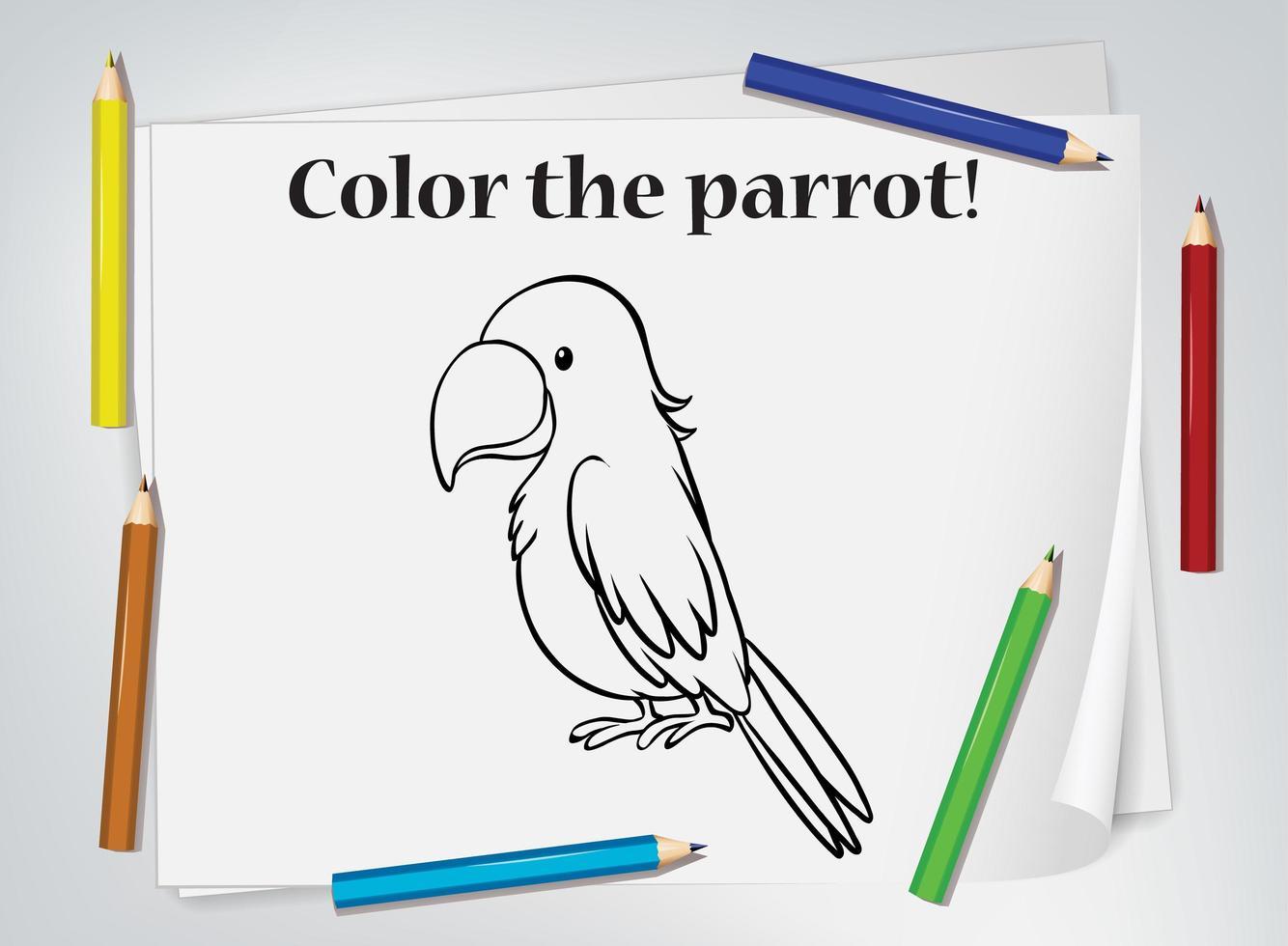 hoja de trabajo para colorear loro vector