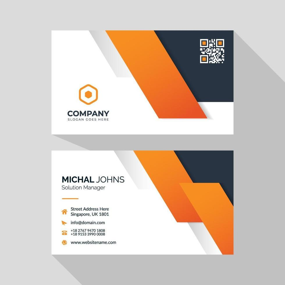 Business card with orange shapes vector