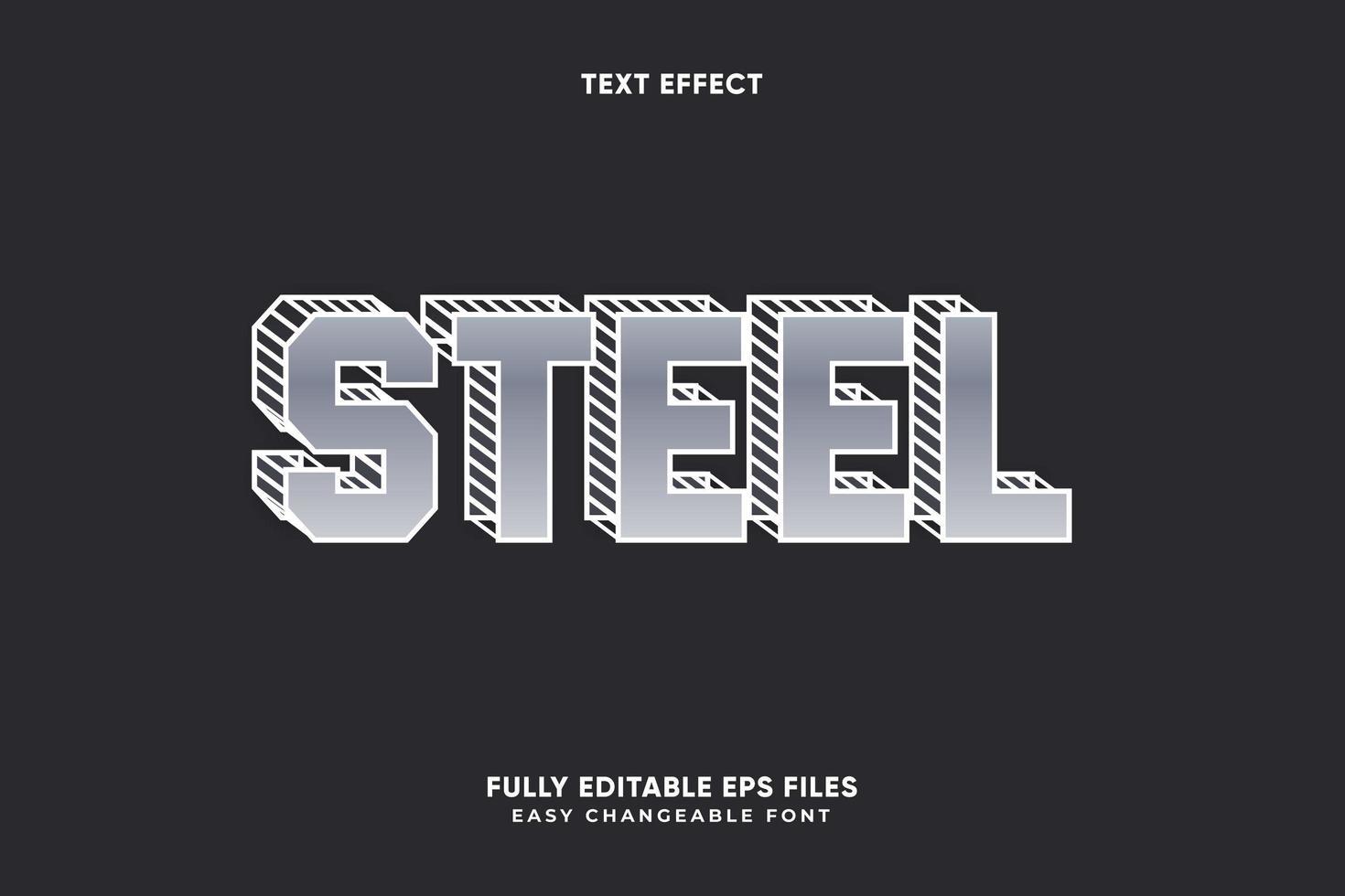 effetto testo modificabile in acciaio vettore