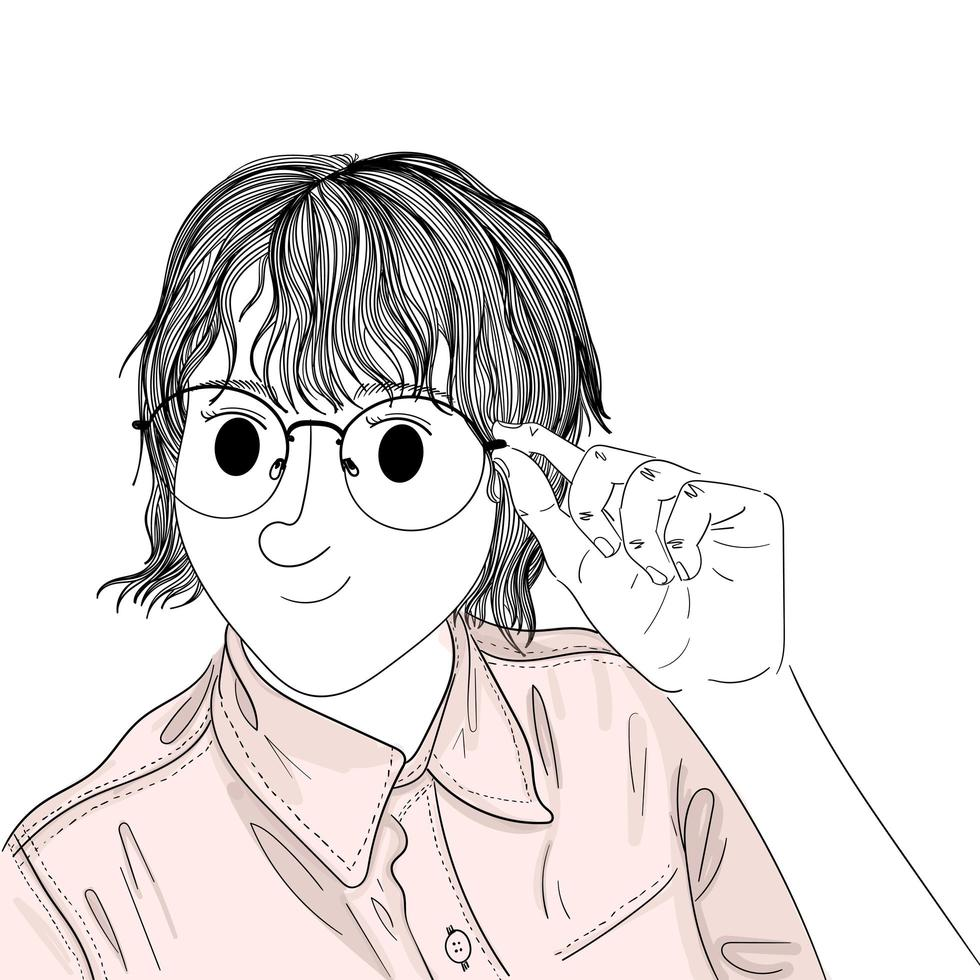 mão desenhada mulher segurando óculos vetor