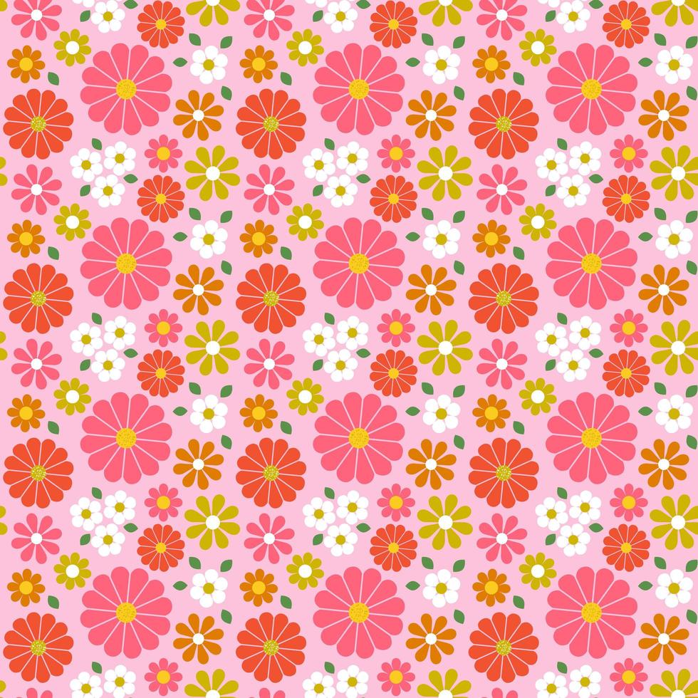 Retro seamless floral pattern with pink tones vector