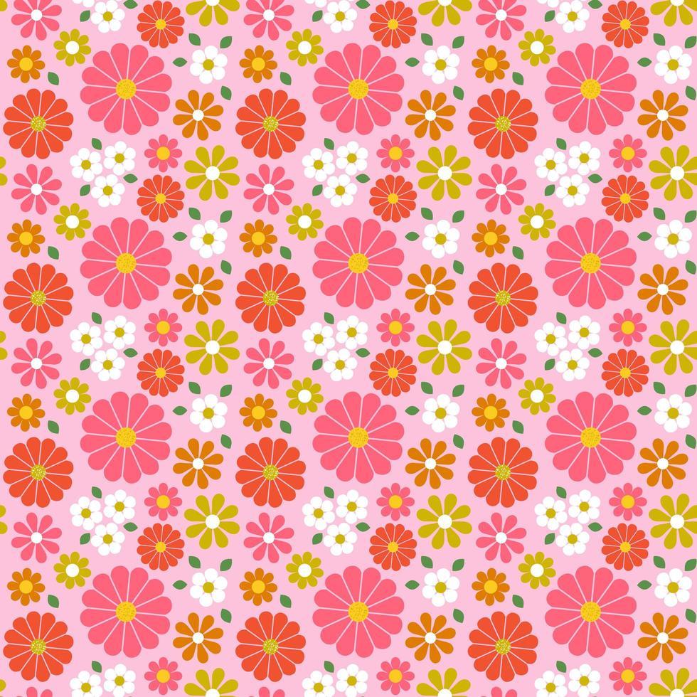 motif floral sans couture rétro avec des tons roses vecteur