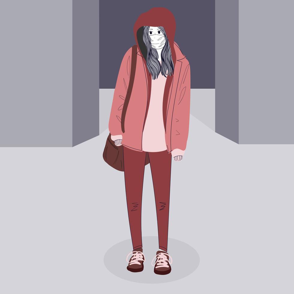 Mujer enmascarada de pie con chaqueta con capucha vector