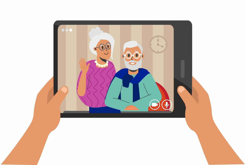 video chat en tableta con padres vector