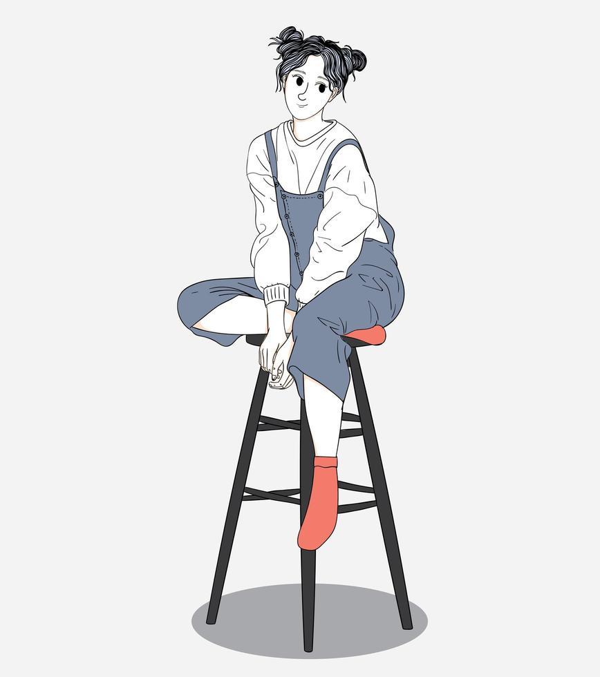 dibujado a mano feliz mujer sentada en las heces vector