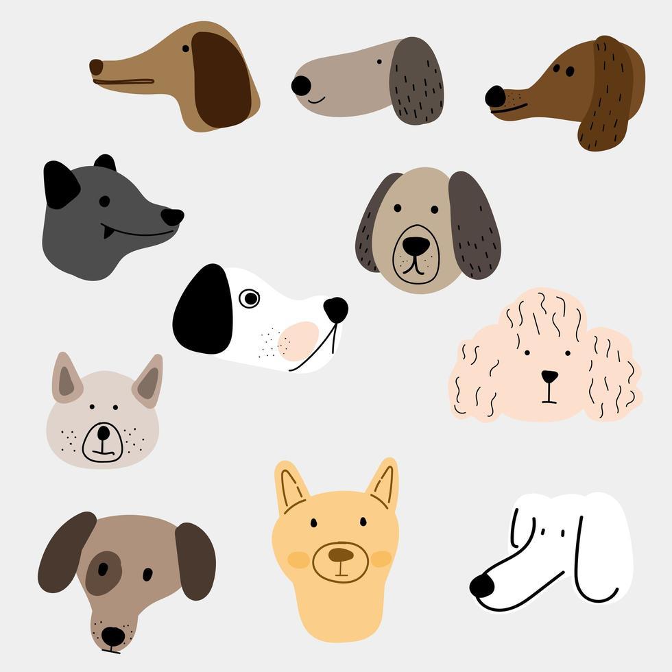 ensemble d'illustration de chiens dans différents styles vecteur