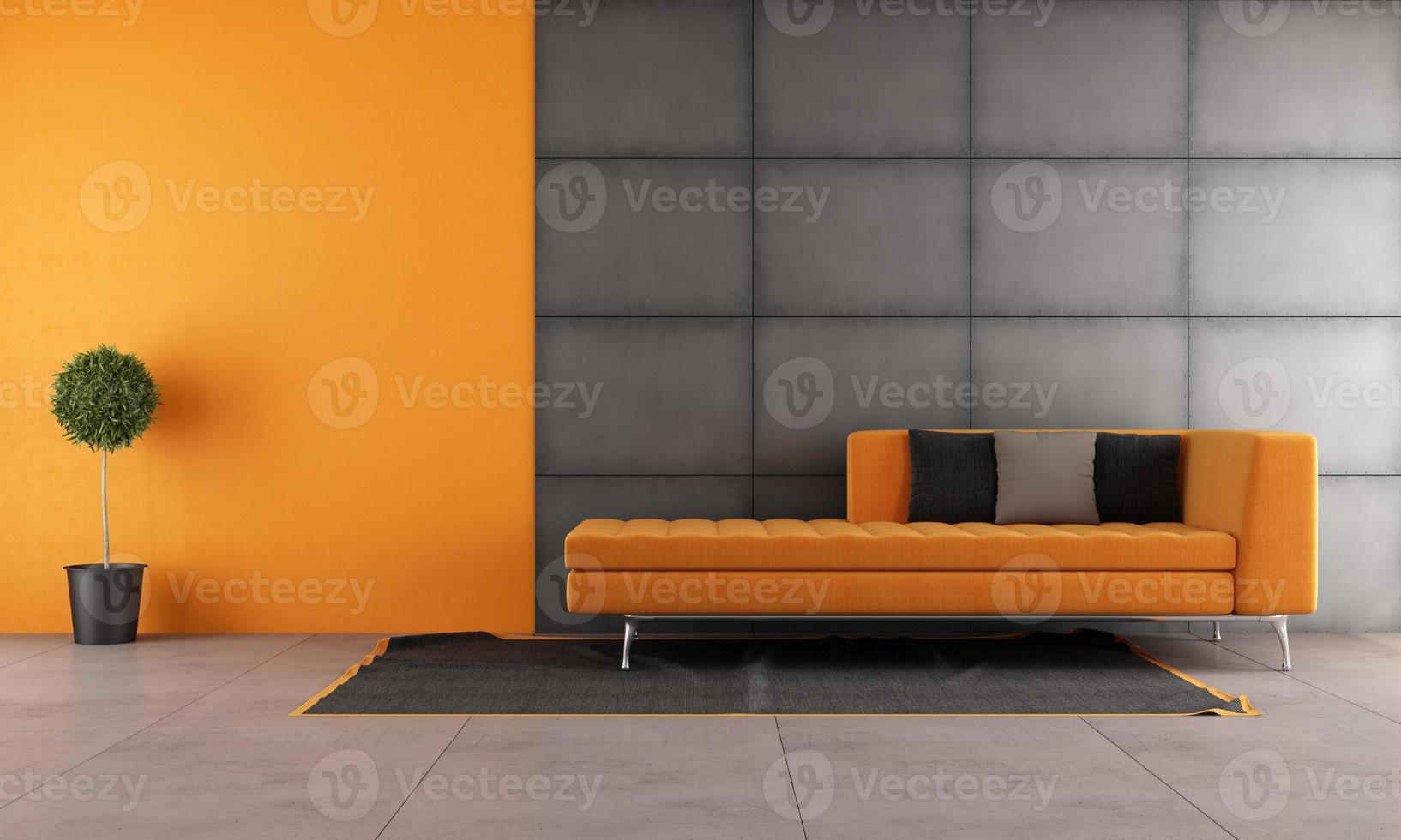 sala de estar negra y naranja foto