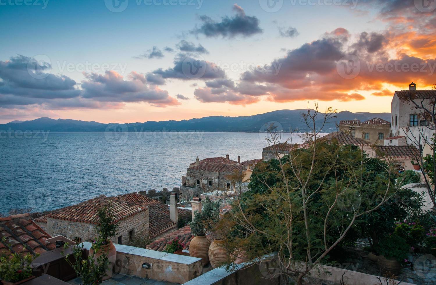 Cityscape at Monemvasia, Peloponnese, Greece photo