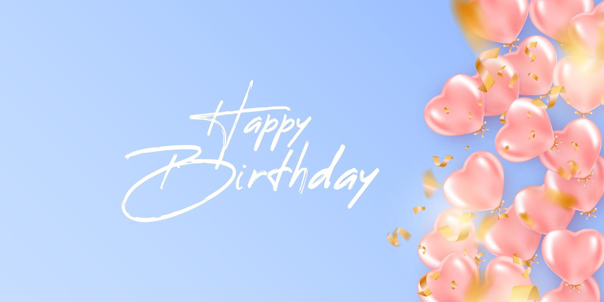 Fondo festivo de cumpleaños con globos de helio en forma de corazón vector