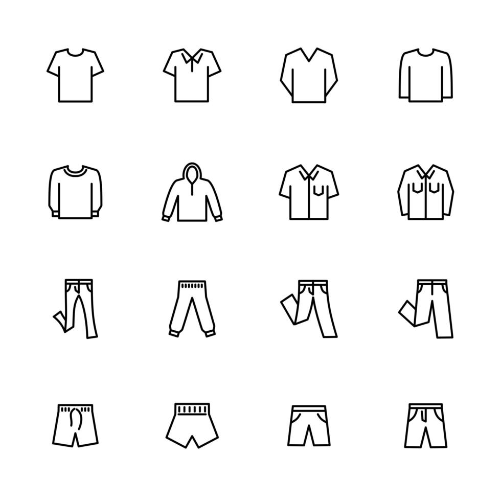 Set of Line Icons for Casual Men's Clothes vector