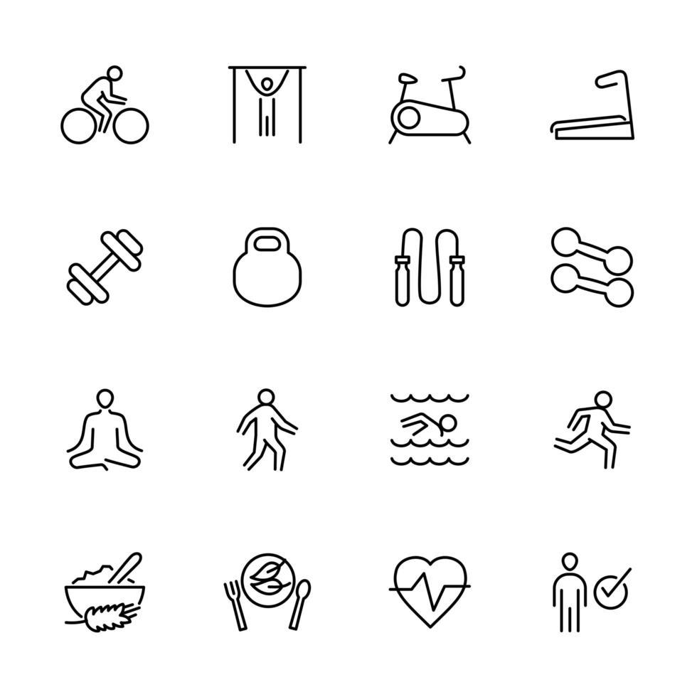 Gesundheit Lebensstil dünne Linie Icon Set vektor