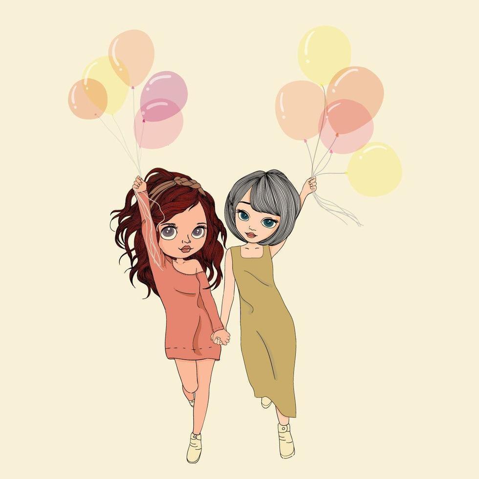zwei Frauen halten Luftballons vektor