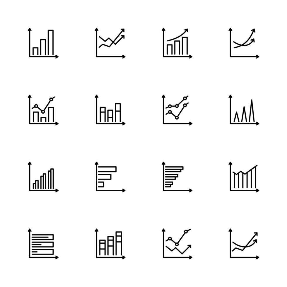 Business Growth Chart Line Icon Set  vector