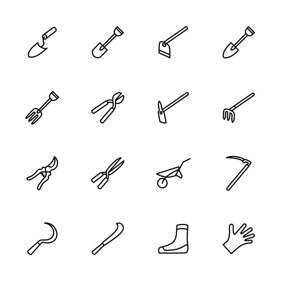 Gartenwerkzeug Ausrüstung Linie Symbolsatz vektor