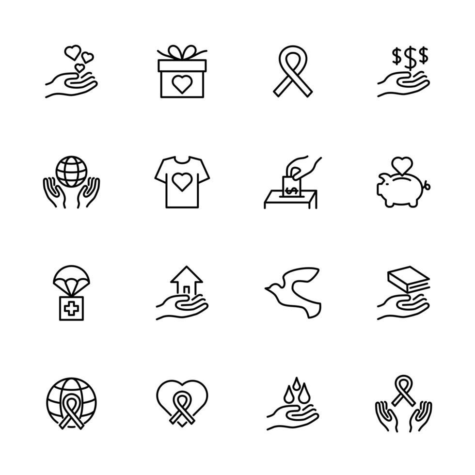Charity- und Spendenlinien-Icon-Set vektor