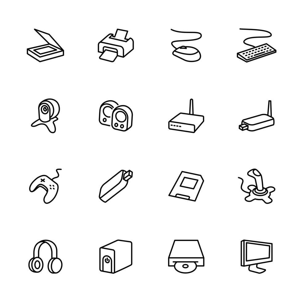 Computerzubehör Line Icon Set vektor