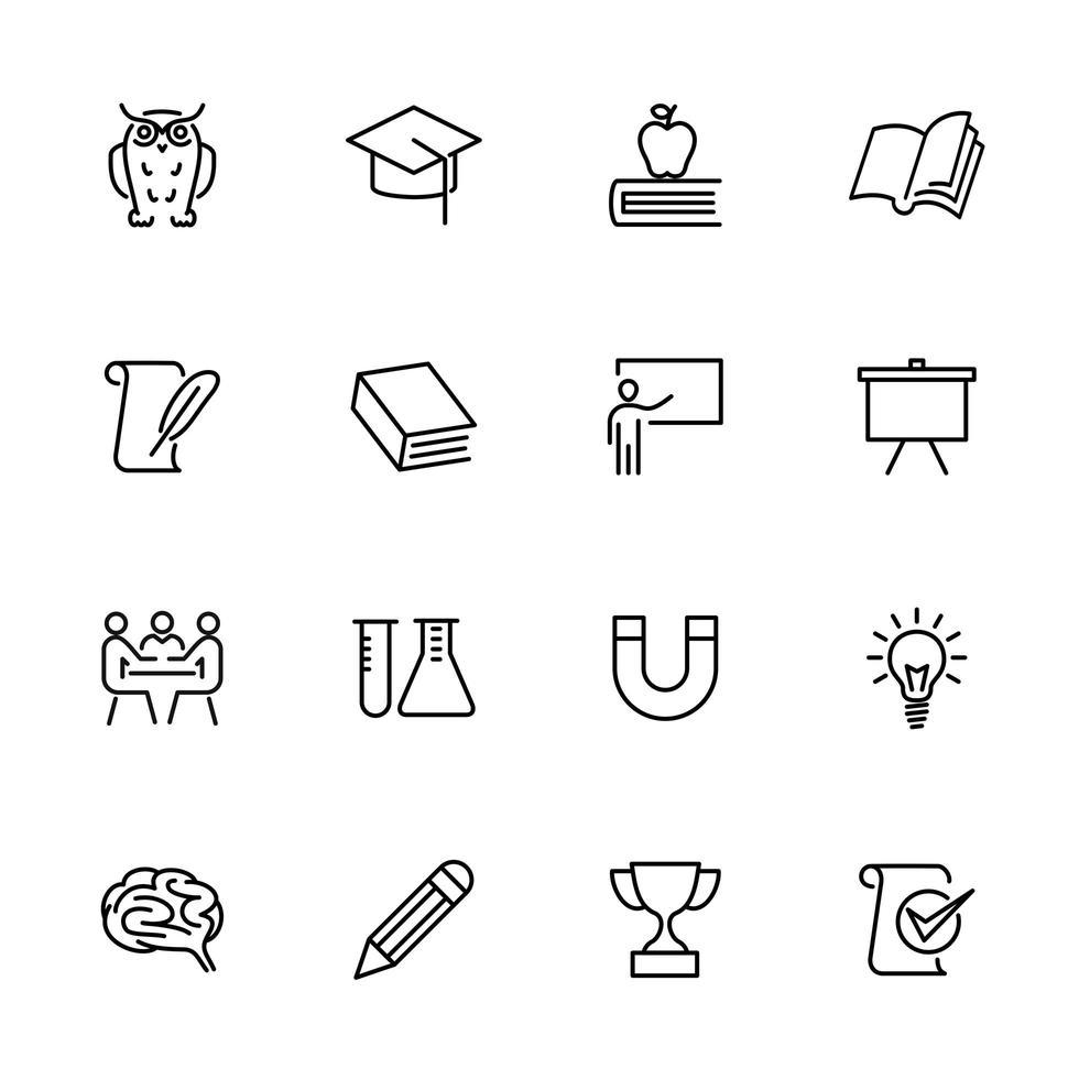 Icon-Set für Bildung, Schule und Lernlinie vektor