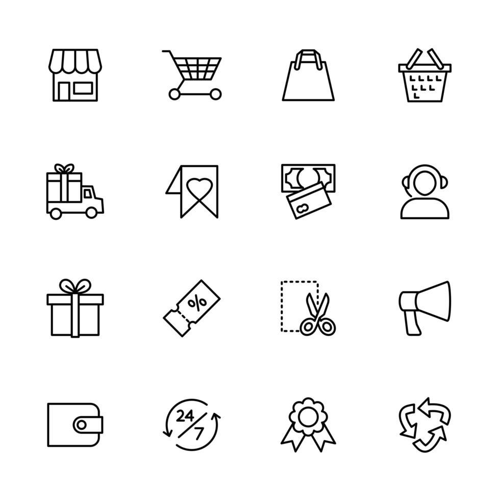 conjunto de iconos de línea de sitio web de tienda en línea vector