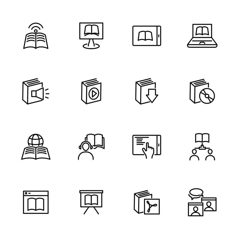Set of Line Icons for Digital Learning vector