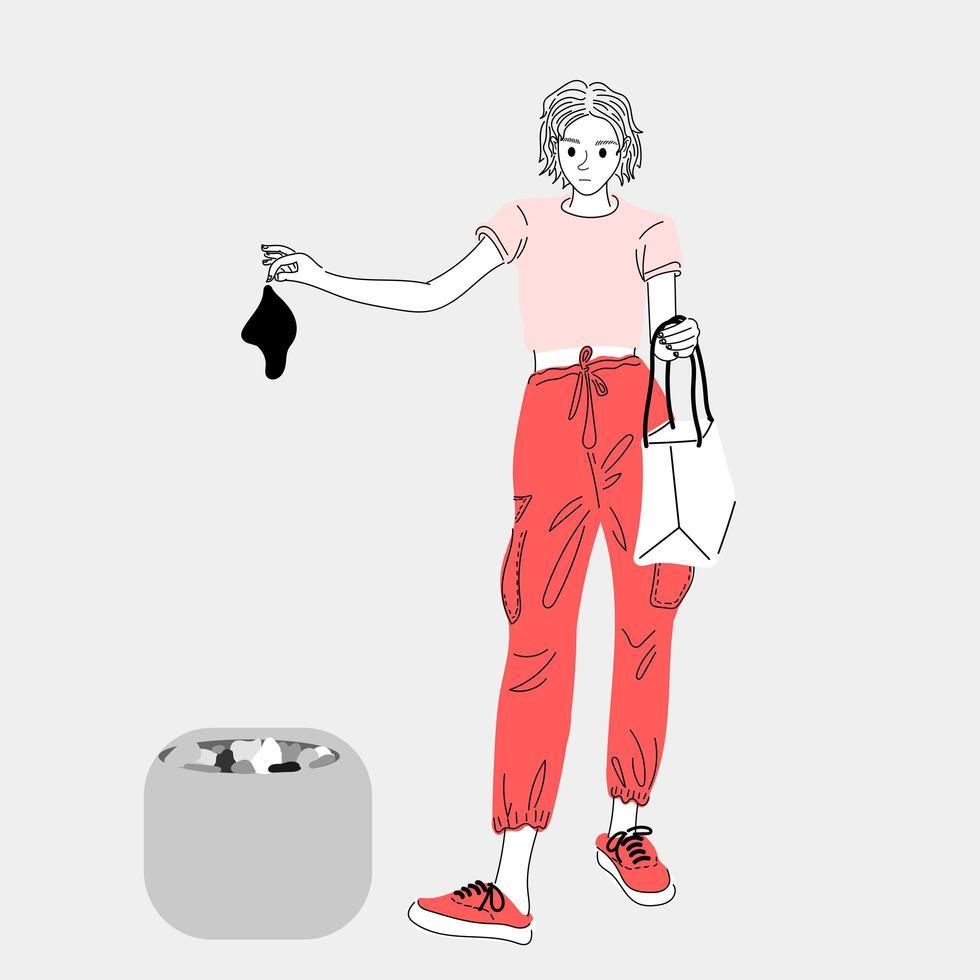 Frauen werfen Müll in den Müll vektor