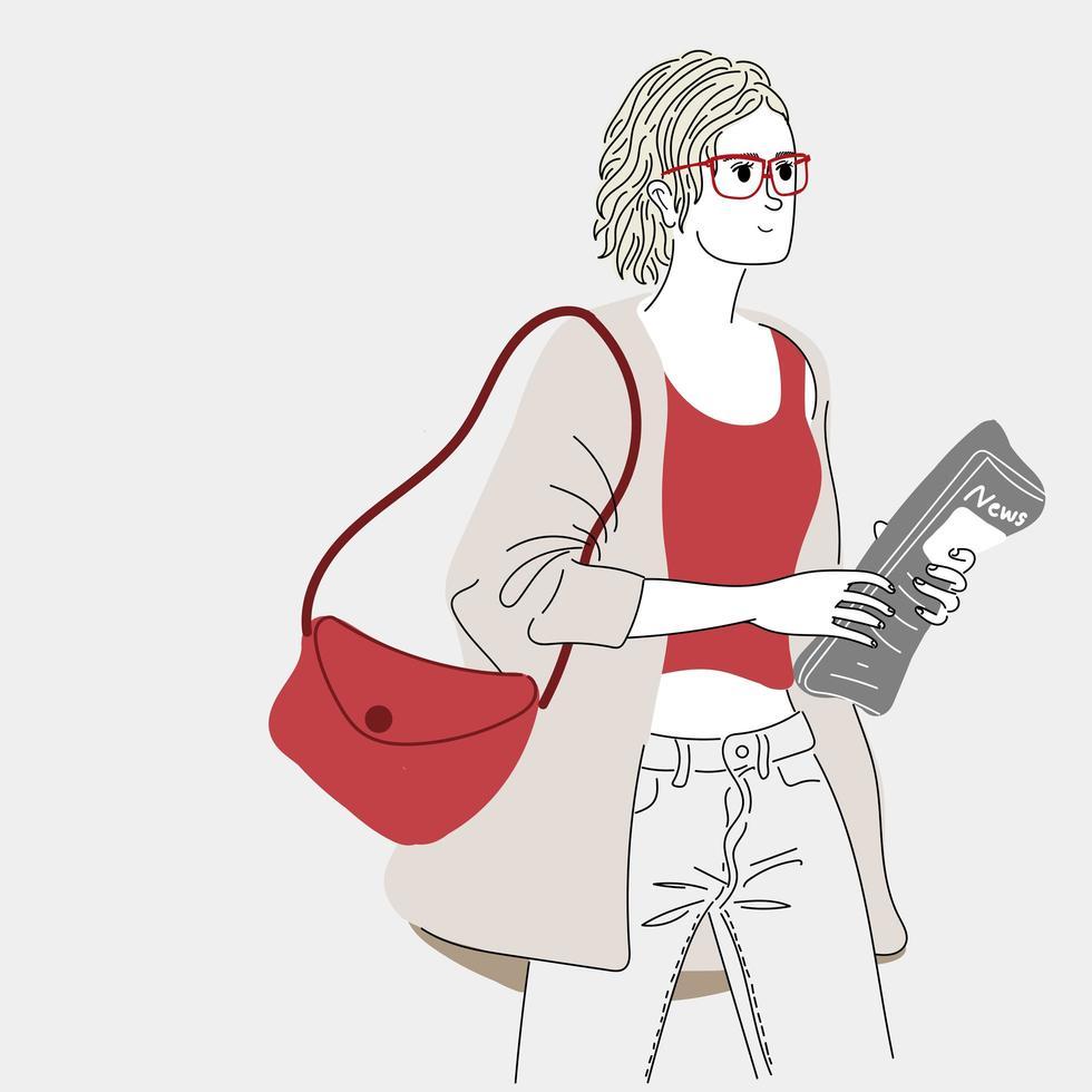 mulheres carregando jornais vetor