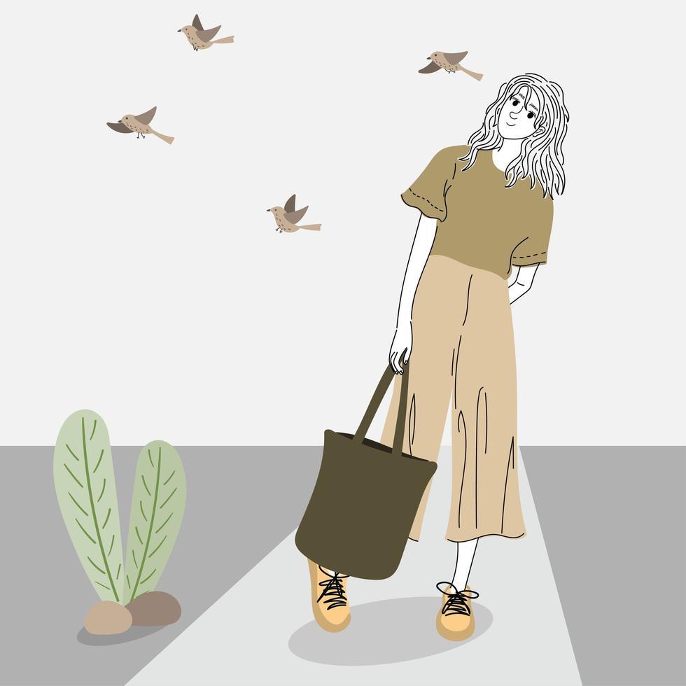 Frau im Freien einkaufen vektor