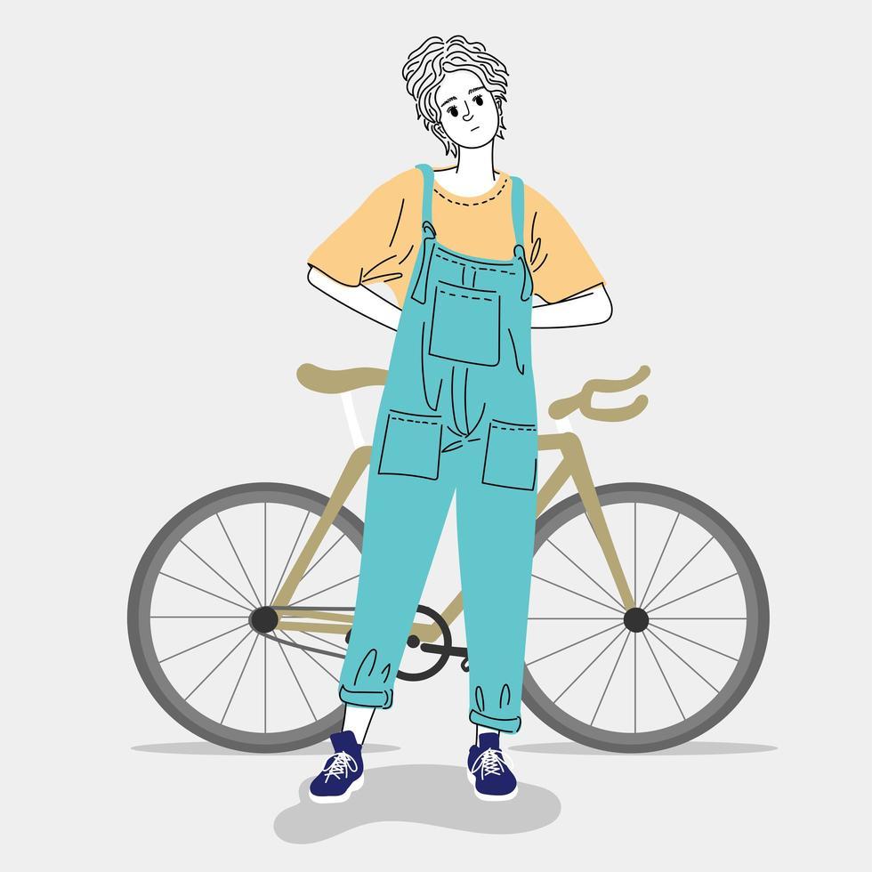 mujer de pie con bicicleta vector