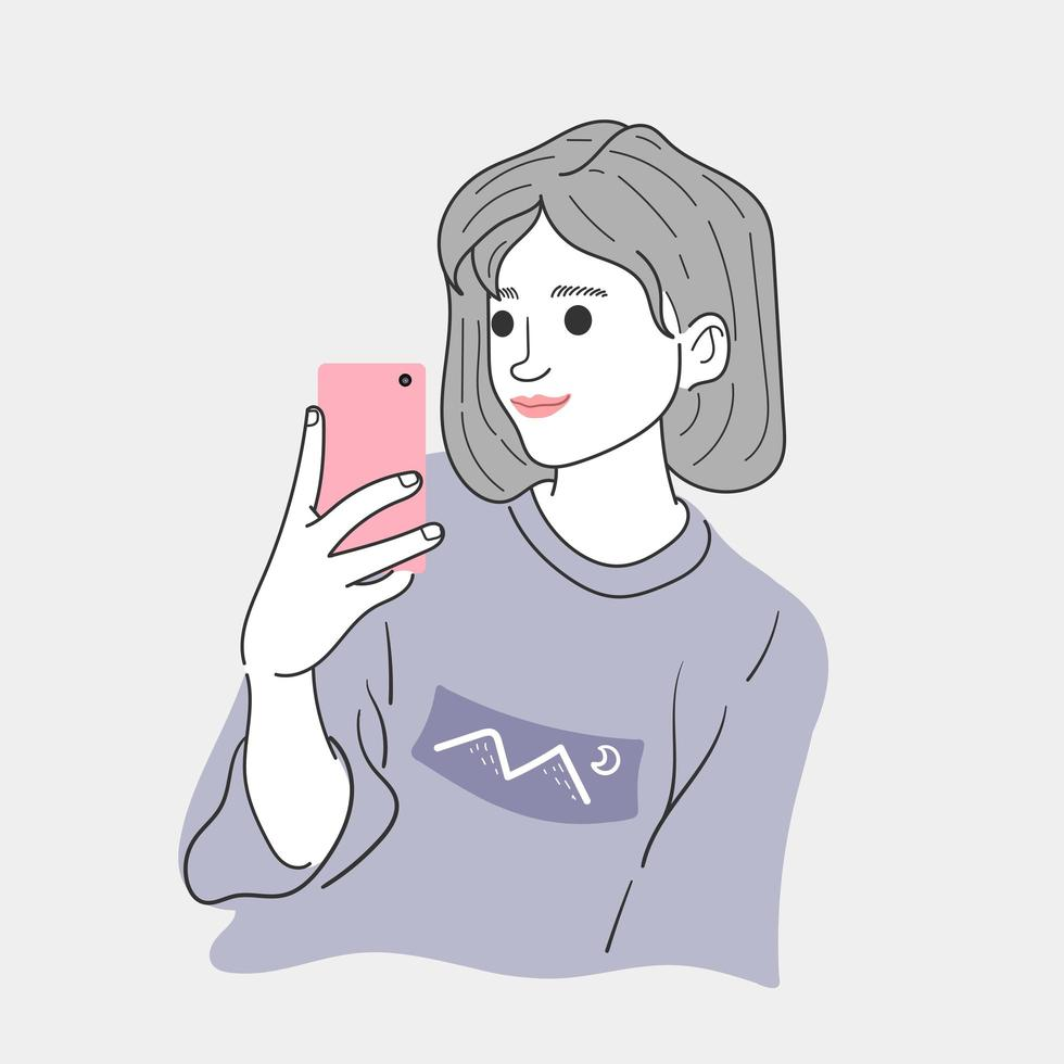Frau macht ein Selfie vektor
