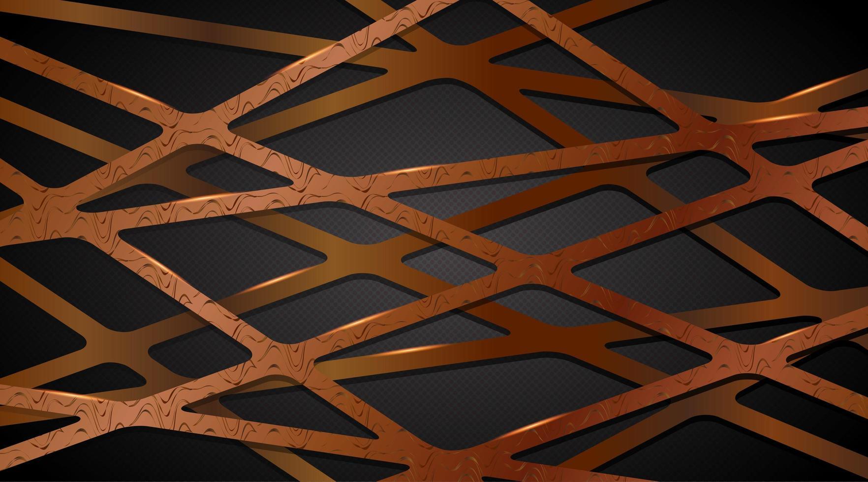 abstrakte überlappende 3d Kupfer Gold Linie Gurtband vektor